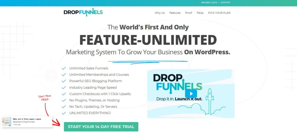 DropFunnels home page funnel builder